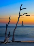 Sunrise with the Morris Island Lighthouse, Light painting on the driftwood with a white LED light! Very LONG Exposure...