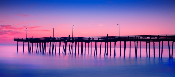 Outer Banks FIshing Pier Sunrise, Fuji X Pro 1 + 10 stop ND filter
