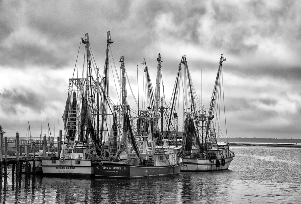 Shem Creek Shrimpers in B&W, Fuji X-E1 & 18-55mm lens