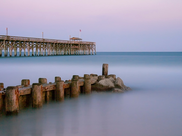 Pawleys Pier, Twilight. 847 Second Exposure, Olympus OMD with the 12-60mm lens.  Iso 200, f/22
