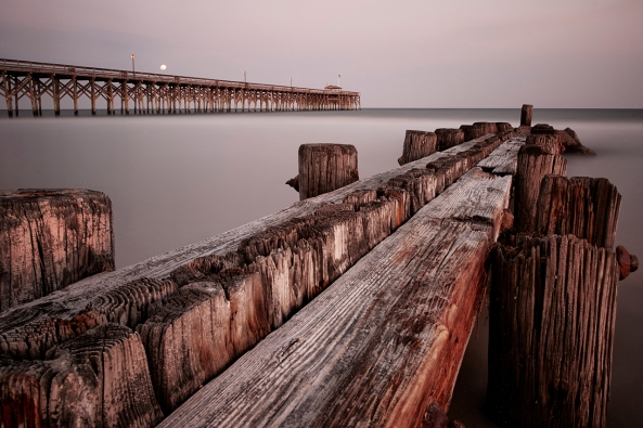 680 second exposure, Pawleys Island Pier and Groin.  Fuji X-E1, at the end of twilight going into full darkness