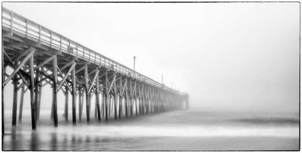 Pawleys Island Pier, Foggy Morning.  X-E2 with 10 stops of ND, 30 seconds.