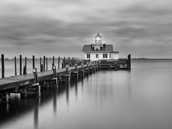 Roanoke Marshes Lighthouse with operating Light, 16 second exposure, M Monochrome