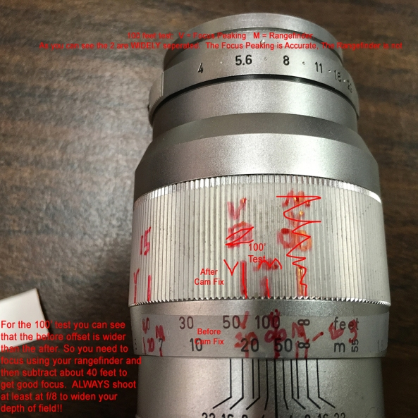 100 foot focus test on Leica 135mm