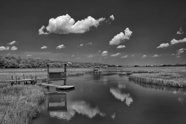Pawleys Island Marsh, Sony A6300 with the Sony/Zeiss 24-70 f/4 and a polarizer. B&W conversion.