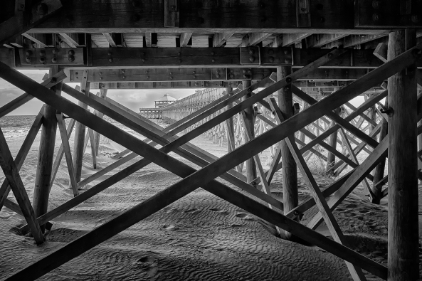 Fuji X100s 850nm Deep Contrast B&W Infrared: Under The Folley Beach Pier