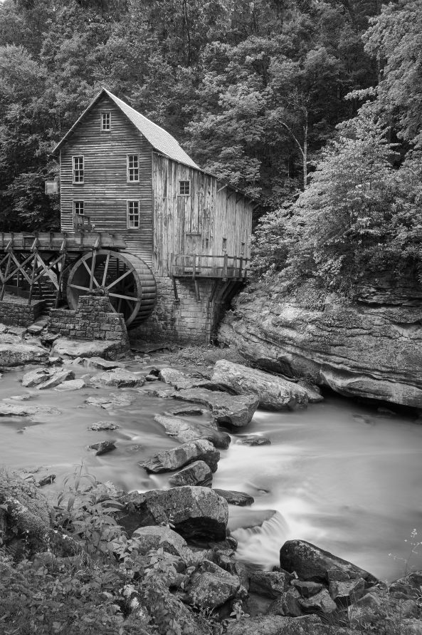 Glade Creek Grist Mill, Babcock State Park, WV, M Monochrome